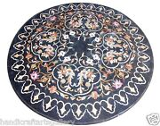 30x30 Black Round Marble Coffee Top Table Mosaic Floral Inlay Arts Home Decors