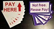 100 Total Vinyl Stickers 50 Pay Here And 50 Not Free Honor Box Vending Routes