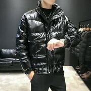 Men's Winter Thick Puffer Coat Tooling Duck Down Jacket Cargo Pocket Warm Casual