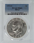 1973-s Silver Uncirculated Eisenhower Dollar Pcgs Ms66