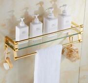 Wall-mounted Glass Bathroom Storage Shelf Towel Rack Space Aluminum Gold Andsilver