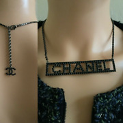 18s Name Plate Crystal Chain Logo Necklace