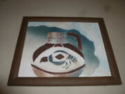Framed Original Stucco Art Signed Connie Baker Hanging Picture Pottery Indian
