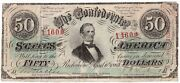 Confederate States 50 Type 57 Redeemed 1/64 Cut Canceled No Series Pf-6 K7382