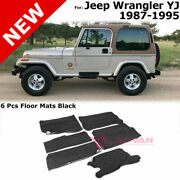 For 87-95 Jeep Wrangler Yj | 6 Pieces Floor Mats Black Package Kit
