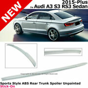 For 15-18 Audi A3 S3 Rs3 Sedan | Sports Style Abs Rear Trunk Spoiler Unpainted