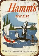 Vintage 1956 Hamms Beer From The Land Of Blue Sky Waters Fishing Metal Sign