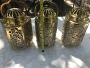 Brass Candle Lanterns And Hanging Light. 5 Pc. Lot