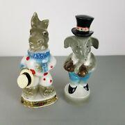 Vintage Jim Beam 1960s Republican And Democratic Decanters Elephant And Donkey 64/68