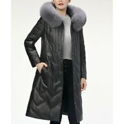 Womens Winter Size Plus Long Real Sheep Leather Duck Down Jacket Hooded Casual