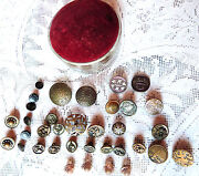 Antique Buttons Brass Figural Buttons Vintage Sewing 35 Pc Lot
