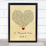A Thousand Years - Part 2 Vintage Heart Song Lyric Art Gift Print