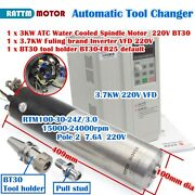 Cnc Bt30 3kw Atc Automatic Tool Change Water Spindle Motor + 3.7kw Inverter 220v