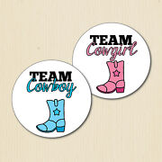 Cowboy /cowgirl Gender Reveal Party Stickers Country Baby Shower Team Boy/girl