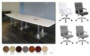 8 Ft Foot Conference Table With Metal Legs And 6 Mid Back Chairs In Many Colors