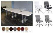 12 Ft Foot Conference Table With Metal Legs And 10 Mid Back Chairs Many Colors