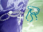 Vintage Lot Of 2 Faux Blue Pearl And Clear Faux Crystal Plastic Rosaries
