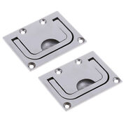2x 316 Marine Stainless Steel Flush Pull Handle Boat Hatch Lift Ring 76x56mm