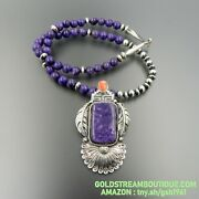 Handcrafted Sterling Silver Spiny Oyster Charoite Feathers Beaded Necklace 24.5