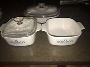 Vintage 1970andrsquos Corning Ware Casserole Blue Cornflower 2 Cw French White 1