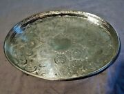 Leonard Silverplate Co Chased Oval Footed Tray 18x12x2 1/4 Sheffield England