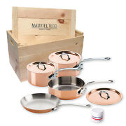 Mauviel M'heritage M'150s 7 Piece Copper Cookware Set W/ Wooden Crate