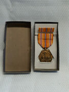 Vtg Asiatic Pacific Campaign Wwii Bronze Medal And Ribbon With Lapel Pin In Box