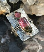 Echo Of The Dreamer Mars And Valentine Sterling Watermelon Tourmaline Ring Rd722