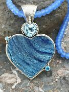 Echo Of The Dreamer Mars And Valentine Blue Druzy Heart Necklace Nd1223