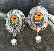 Echo Of The Dreamer Mars And Valentine Sterling Micro Mosaic Earrings Em387