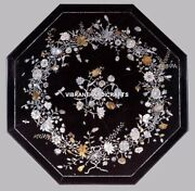Marble Dinner Table Top Marvelous Floral Inlay Art Marquetry Home Decorate H3842
