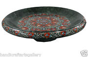 24 Green Marble Fruit Bowl Malachite Inlay Floral Art Outdoor Decorates H569