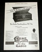 1928 Old Magazine Print Ad, Grebe Synchrophase A-c Six Radio, Get It Better