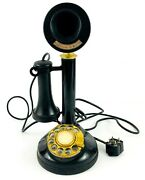 Vintage 1970s Black And Gold Candlestick Telephone Rotary Dial Phone Original Plug