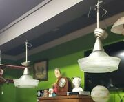 Antique Industrial Age Hanging Lamps Circa 1940-60and039s Glass/ Metal We Ship