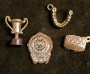 Vintage Lot Of 4 Metal And Plastic Cracker Jack Gumball Monkey Charm Prizes 22