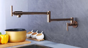 Rose Gold Polished Brass Pot Filler Wall Mounted Kitchen Faucet Single Hole Tap