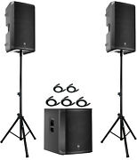 2x Ev Elx200-15p 15 Speakers + 1x Elx200-18sp 18 Subwoofer + Stands And Cables