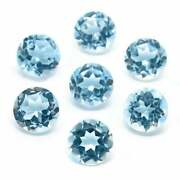 Certified Natural Blue Topaz 7 Mm Round Cut Faceted Loose Aaa Gemstone Lot