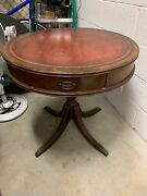 Antique Round Drum Side End Accent Table Wood Furniture Vintage