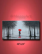 Original Abstract Paintingwall Arthome Decorkissing In Rainlove Couple48x24