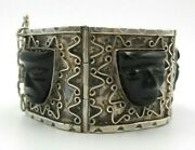 Beautiful Vintage Taxco, Mexico 980 Silver And Onyx Designer Face Panel Bracelet