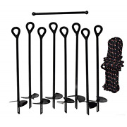 Gray Bunny Gb-6874 Ground Anchor Kit Set Of 8 Earth Augers 15 Long 3 Wide And
