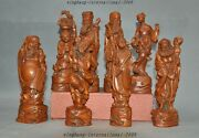 8 Collection Old Chinese Boxwood Hand-carved 8 Eight Immortals God Statue Set