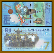 Fiji 7 Dollars 2016 P-120 Unc Rugby 7 Gold Olymp. Sum. Comm Replacement Az Unc
