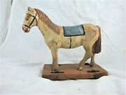 Antique Hand Carved Pull Along Wooden Toy Horse, Original Paint, C1900