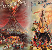 Gnomes 1800and039s Dwarf Mountain Volcano Forge Peninsular Stove Victorian Trade Card