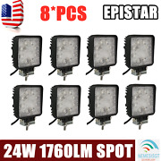 8x 24w 4 Spot Beam Led 4wd Work Light Driving Offroad Truck Tractor Square Ford