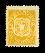 Guatemala 1873 Coat Of Arms 1p Yellow Scott 6 Mint Vf Stamp - Signed Bloch - R