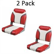 2 Red And Gray Folding Boat Seats Low Back Marine Grade Vinyl Pontoon And Bass Boats